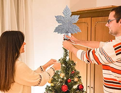 Blattform Stern Weihnachtsbaum Projektionslampe, Blattform LED Baumspitze Projektionslampe Schneeflocke Rotierende 3D Projektorlampe Shinning Star (Color : Silber, Size : US Plug)