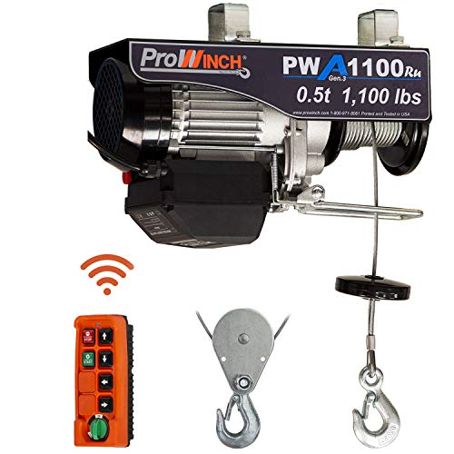 Prowinch 1/2 Ton Electric Cable Hoist Wire Rope 1000 lb Load Capacity Crane with Wireless Remote Control System Overhead Garage Ceiling Winch 110V