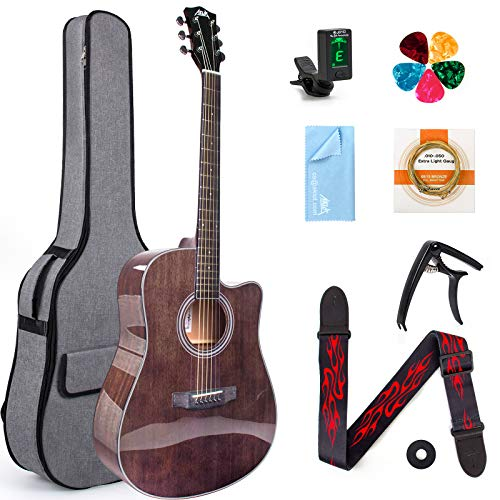 AKLOT 4/4 Acoustic Guitar 41 inch Mahogany Professional Full Size Cutaway Folk Guitarra Bundle With Beginners Kit (Tuner Picks Capo Strings Gig Bag Tuning Wrench Strap Cleaning Cloth)