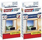tesa Insect Stop Comfort Fliegengitter für bodentiefe Fenster (2er Pack /120 cm x 240 cm, Anthrazit (Durchsichtig))