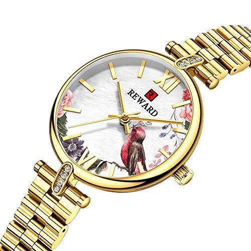 JIADUOBAO Reloj de lujo para mujer de moda, creativo, dorado, reloj de pulsera, ultra delgado, de acero completo, resistente al agua, color dorado
