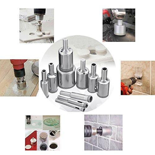 Diamond Drill Bit Set, DRILLPRO 10 PCS Glass Hole Saw for Tiles Glass Ceramic Marble Bottles DIY,6mm - 30mm
