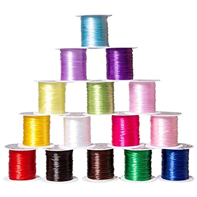 15 Rolls Various Color Elastic Beading Thread for Jewelry Making, Craft Making and DIY