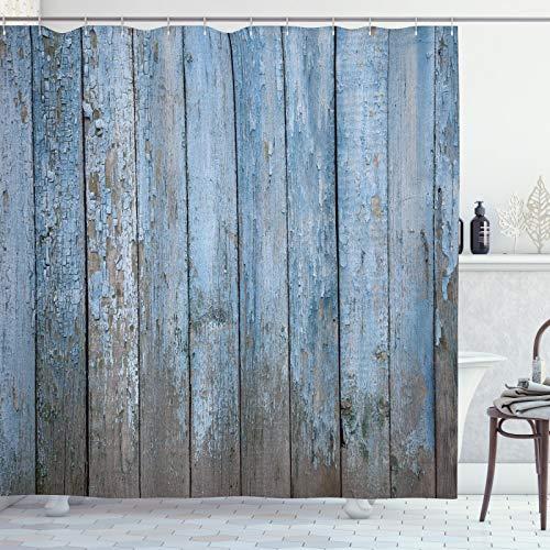 ABAKUHAUS Zaun Duschvorhang, Grungy gemalte Holzzaun, Wasser Blickdicht inkl.12 Ringe Langhaltig Bakterie und Schimmel Resistent, 175x200 cm, Pale Azure Blau Staub