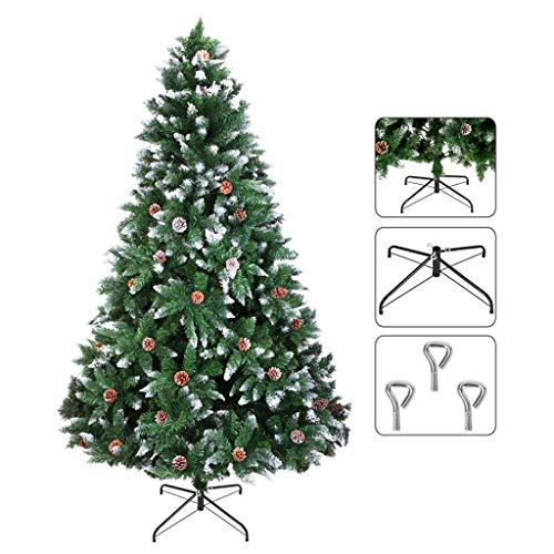 XIGUAN 6ft Christmas Trees, 920 Branches Metal Stand Artificial Pine Cone Snow Dusted Christmas Trees Christmas Decoration Easy Assemble and Disassemble (Color : Dark Green)