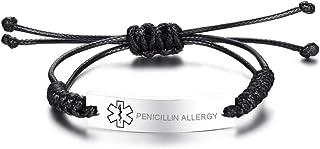 VNOX Personlized Medical Alert ID Handmade Braid Rope Stainless Steel Adjustable Bracelet for Child&Adult