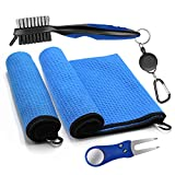 MWZTECH Golf Microfiber Towels Gifts Kit,Golf Cleaning Accessories Set-2 Waffle Golf Towels,Golf Brush,Golf Divot Tool,Suitable for Golf Lovers,Gift for Men Women and Children