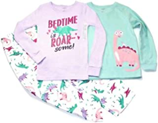 Carter's Girl's 3 Piece Pajama Set - Bed TIME is Roar Some in Aqua/Purple, Size 6