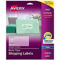 """Avery マットつや消しクリアアドレスラベル インクジェットプリンター用 2インチ x 4インチ 250ラベル 5パック (8663) 2"""" x 4"""""""