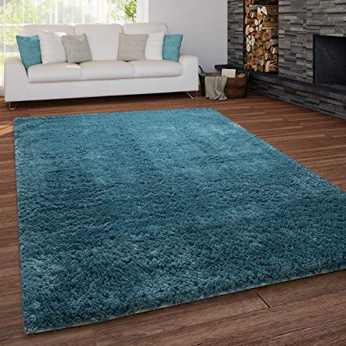 Paco Home Teppich Wohnzimmer Shaggy Hochflor Waschbar Einfarbiges Design, Grösse:60x100 cm, Farbe:Türkis