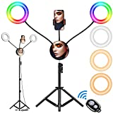 6.6' RGB Selfie Ring Light, Double LED Ringlight 3200-6500K with Mirror & Tripod Stand for Live Stream/Make Up/YouTube/TikTok/Photography/Video Recording Compatible with iPhone & Android Phone