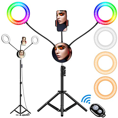 """6.6"""" RGB Selfie Ring Light, Double LED Ringlight 3200-6500K with Mirror & Tripod Stand for Live Stream/Make Up/YouTube/TikTok/Photography/Video Recording Compatible with iPhone & Android Phone"""