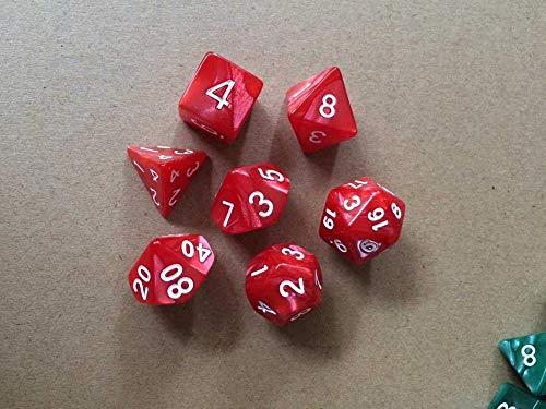 Juan-375 Juego de 42 dados claros para jugar, dados poliédricos para mazmorras RPG para la mayoría de los juegos de mesa (color: rojo)