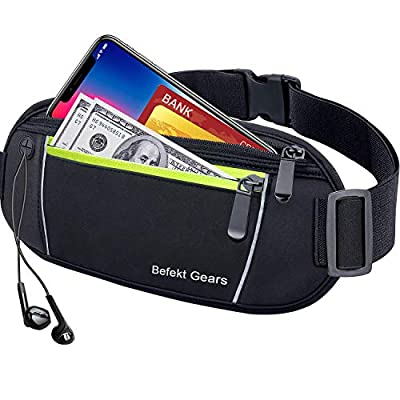 Befekt Gears Running Belt, Waterproof Waist Pack with Large Capacity, Sweat-proof Adjustable Elastic Strap and Headphone Hole Ideal for All Mobile Phones up to 6.5 inch