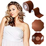 XL Breast Lift Tape for Large Breasts, Breathable Chest Support Tape, Athletic Tape Body Tape with Reusable Nipplecover Adhesive Bra (Brown)