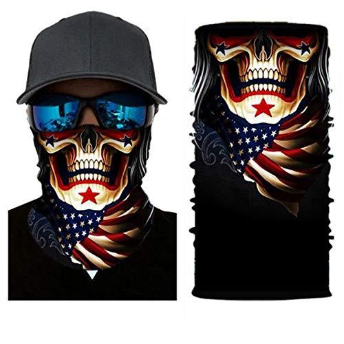 Balaclava Face Sun Mask Skull Pattern Headwear Neck Gaiter for Men 3D Dust Mask Sun UV Dust Wind Proof (Multi)