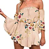 Women Short Jumpsuit Rompers Sexy Off Shoulder Strapless Bell Half Sleeve Chiffon Playsuit Floral Print Cocktail Dress Pink