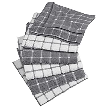 DII Cotton Terry Windowpane Dish Cloths, 12 x 12 Set of 6, Machine Washable Ultra Absorbent Kitchen Dishcloth-Gray