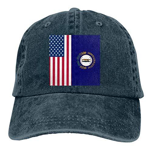 Casquette de baseball en denim avec drapeau américain