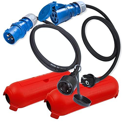 CEE Adapter Kabel Schuko Stecker Kupplung Schutzbox/Kabelbox Set Rot - Camping Zubehör Boot Wohnmobil Wohnwagen Garten - Gummikabel H07RN-F 3x2,5mm² 230V 16A Stromadapter/Adapterkabel blau 1,5m 0,3m