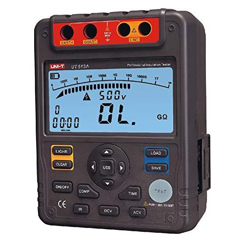 Comprobador de Resistencia de Aislamiento,UT513A Medidor de Resistencia de Aislamiento Megohómetro Voltímetro 5000V 1000G ohm con Interfaz USB de Tierra Medidor