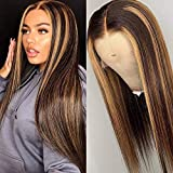 Ombre Human Hair Wigs Brazilian Straight Hair T Part Wigs for Black Women,MSGEM Highlight HD Lace Front Wigs Human Hair Pre plucked 16 inch 4/27 Color 150% Density