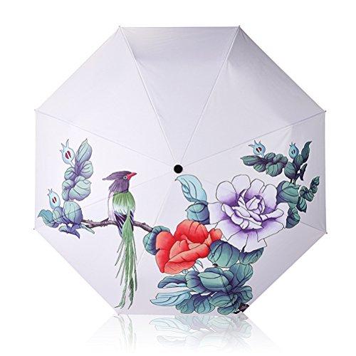 Paraguas de Sol Mujer Automático 3D Impreso Sombrilla A Prueba de Viento Pegamento Negro Creativo Protección UV Paraguas Plegables triples Señoras 8K Sombrillas Regalos empresariales Verano (B)