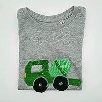 Maglietta grigia in puro cotone con betoniera verde fatta a mano all'uncinetto - Bimbo 3 anni