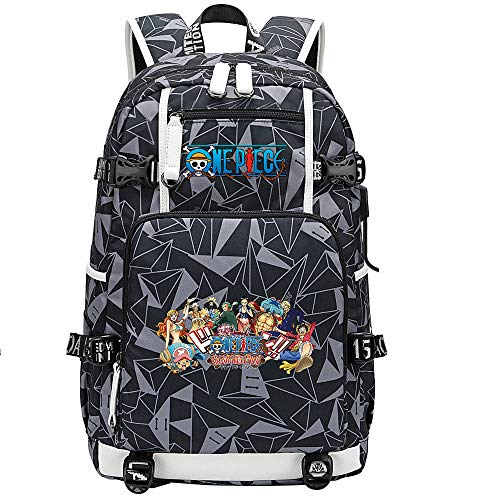 ZZGOO-LL One Piece Monkey·D·Luffy/Roronoa Zoro Anime Backpack Middle Student School Rucksack Daypack for Women/Men with USB-G