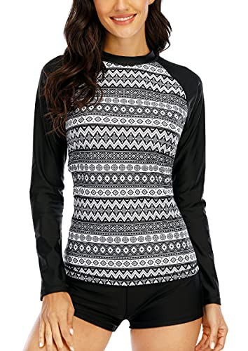 Halcurt Camiseta de manga larga para mujer, UPF 50, traje de baño UV, Negro 1, XL