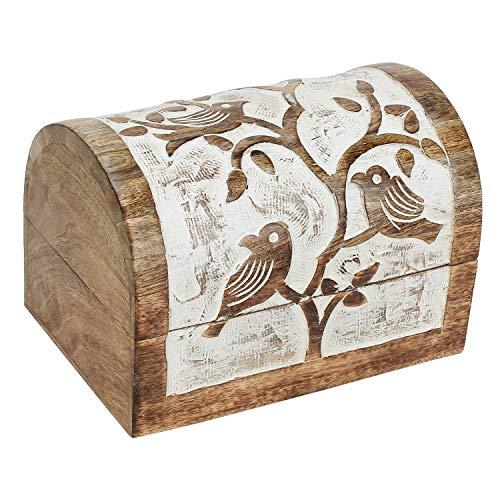 Ajuny - Cassapanca in legno indiano, multiuso, con motivo uccellino intagliato a mano, idea regalo