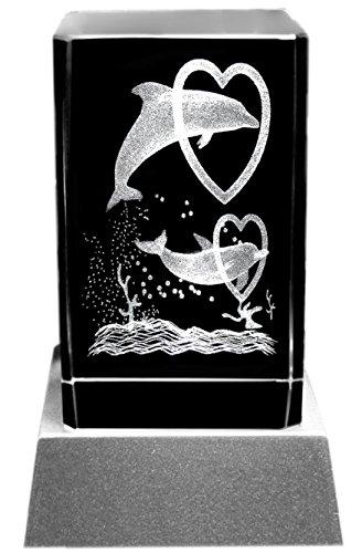 Kaltner Präsente Stimmungslicht - Das perfekte Geschenk: LED Kerze/Kristall Glasblock / 3D-Laser-Gravur DELFINE HERZEN