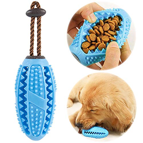 onebarleycorn – Hund Zahnbürsten Stick, Hundespielzeug Ball Hundeball mit Zahnpflege Naturkautschuck Spielzeug Zahnreinigungsspielzeug für Hunde (Blau)