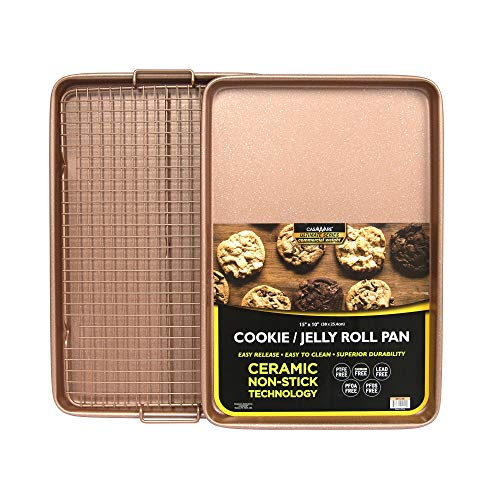 CasaWare 3pc Ultimate Commercial Weight 15 x 10 x 1-inch Cookie Sheet/Cooling Grid Set (Rose Gold Granite)
