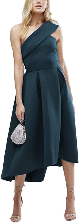 Clothfun Women's One Shoulder Satin Long Bridesmaids Dresses Flower Empire Waist Prom Gowns 137