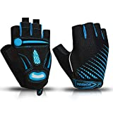 BIKINGMOREOK Cycling Gloves Bike Gloves,Liquid Gel Padded Shock Absorbing Road Cycling Gloves Bicycle Gloves,Anti Slip Mountain Bike Gloves for Men Women MK121-Blue-M