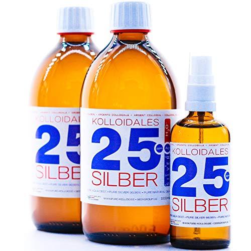 1100ml Argento colloidale - 2 bottiglie da 500 ml/25 ppm argento colloidale + spray (100 ml/25 ppm) - 99,99% puro Argento - migliore qualità - Made in Germany