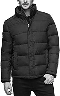 Men's Full Zip Puffer Jacket Smoke Black,Size XXL