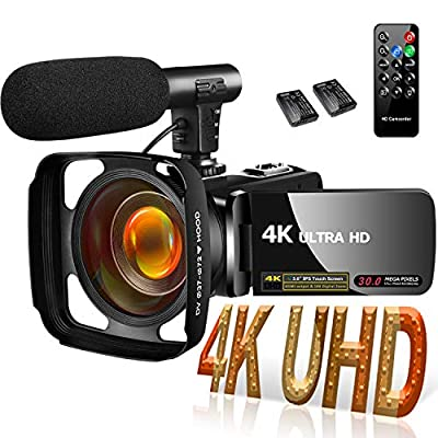 4K Camcorder Video Camera for YouTube, Vlogging Camera with Microphone Ultra HD 30MP 16X Digital Zoom 270 Degrees Rotatable Touch Screen Video Camcorders Support Remote Control by SAULEOO