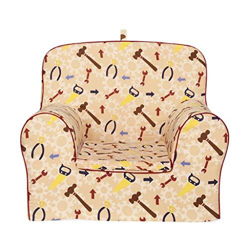 YONGJUN comfortabele schuimstof babystoel, milieuvriendelijke afneembare ba, kinderfauteuil jongens houten frame aanbevolen leeftijd: 3-12 jaar oud