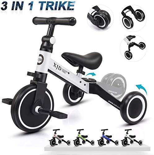 XJD Vélo Draisienne Tricycle pour Enfants de 1-3 Ans 3 en 1 Premier Vélo d'Entraînement d'Équilibre Véhicule avec Pédale Cadeau pour Filles Garçons (Blanc)
