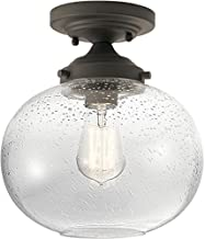 Kichler 42296OZ Avery Clear Seeded Semi-Flush Light in Olde Bronze