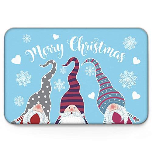Amanda Walter Three Funny GNOME People Feliz Navidad Copo de Nieve, Divertido Interior Antideslizante Tapetes de Bienvenida Mut Dirt Zapatos Raspador Tapete Alfombras Alfombra 40x60cm