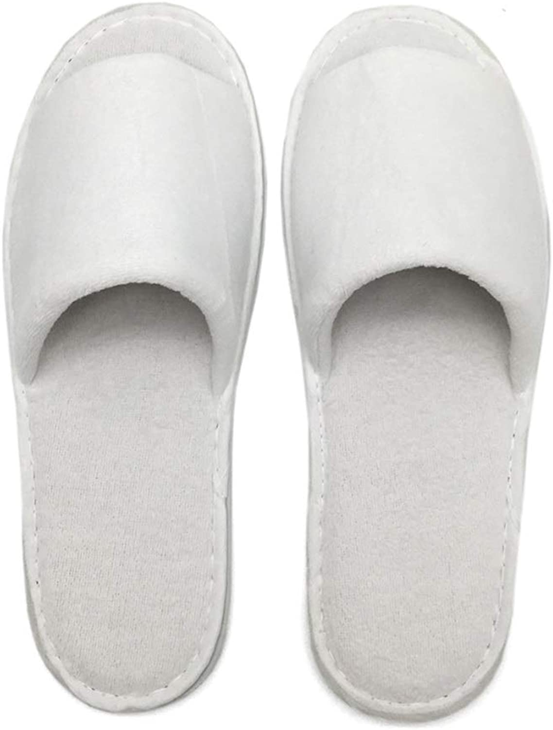 Zyy Disposable Slippers-10 Pairs,Thicken Cotton Flip Flop One Size Comfortable Warm Winter For Home Hotel White