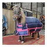 DWJ Caldo Spessore Coperta Cavallo Pony Puledro, Regolabile Attraversare Sopraccinghie 600D Poliestere Traspirante Ripstop Coperta di Cavallo, 300g Riempire (Color : Blue, Size : 105cm)