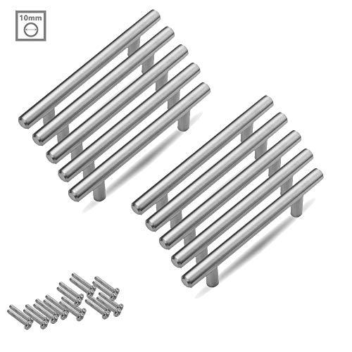 Aufun Möbelgriffe 128mm Edelstahl Gebürstet 20 Stück Küchengriff Türgriff Schubladegriff aus Gebürsteter Silber Ø 10 mm, Gesamtlänge: 200 mm