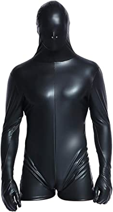4187387bfce6 Wondermiracle Sexy Men Faux Leather Bodysuit Latex Catsuit Bondage Zipper  Wet Look Jumpsuit Clubwear Performance Costume