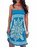 Verano sin tirantes de hombro mujer bohemia falda casual estampado floral colorido mini vestidos de playa,EMMA(BE,S)