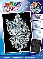 スパンコールアート ブルーホワイトキャット スパークリングクリエイティブアート&クラフト ペット写真キット 子供&大人用 ベルベット背景