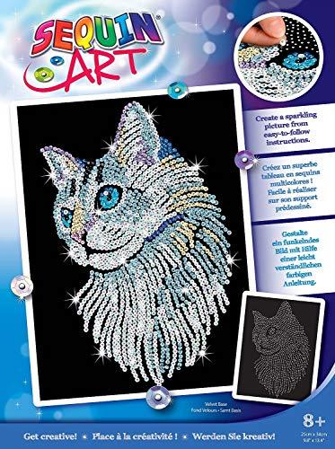 MAMMUT 8041711 - Sequin Art Paillettenbild Weiße Katze, Steckbild, Bastelset mit Styropor-Rahmen, samtige Bildvorlage, Pailletten, Steckstiften, Anleitung, für Kinder ab 8 Jahre
